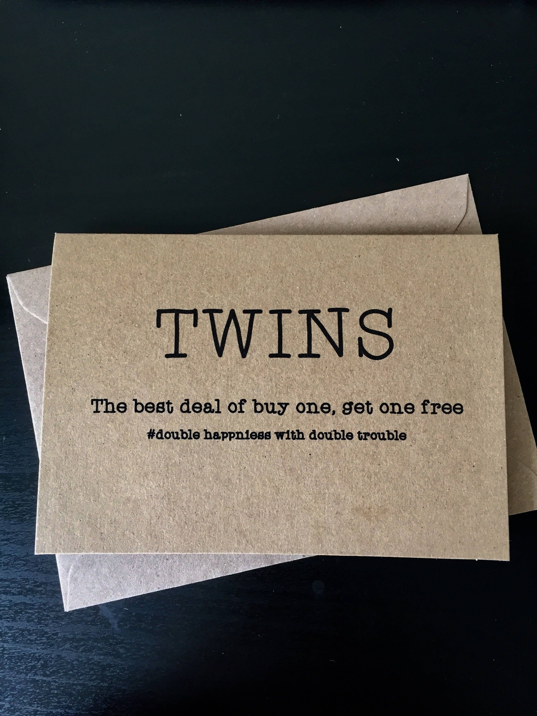 New Baby Twins Card Funny New Baby Card Birth Cards Twins