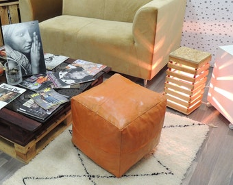 leather pouf,moroccan handcrafted leather pouf, ottoman leather pouf