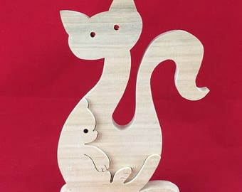 Wooden cat and kitten
