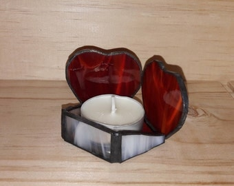 "CANDLE ""Heart"" - stained glass - mirror background - choice of colors"
