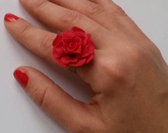 Valentine's Gift ,Red Rose Ring, Polymer clay ring, flower ring, handmade ring, Gift for Her