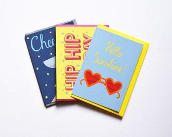 Greeting Card Set 3 Cards Illustration Handlettering