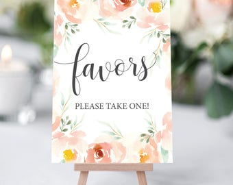Favors Sign Printable, Printable Favors Sign for Bridal Shower, Wedding Cards Sign, Wedding Sign, Floral Wedding Sign, Please take one