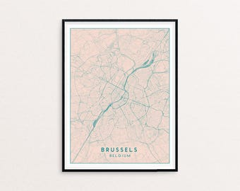 Brussels Blush Pink City Map Print, Clean Contemporary poster fit for Ikea frame 50x70cm, gift art him her, Anniversary personalized