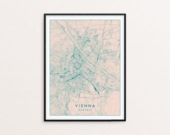 Vienna Blush Pink City Map Print, Clean Contemporary poster fit for Ikea frame 50x70cm, gift art him her, Anniversary personalized