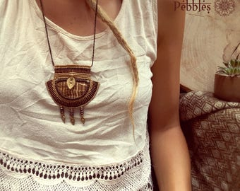 Tribal macrame necklace with Aragonite.