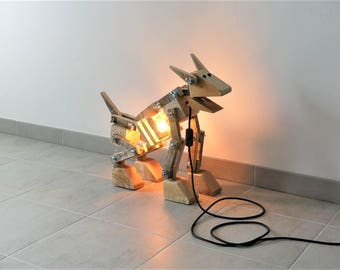 Lamp dog robot pallet wood