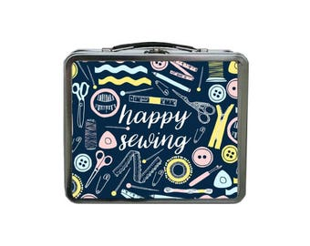 Sewer Lunch Box, Sewing Lunch Box, Sewing Accessories Tin Box, Gifts for Sewers, Seamstress Lunch Box, Blue Lunch Box, Sewing Gift