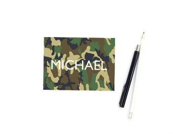 Camo Note Cards, Personalized Stationary for Boys Stationary, FOLDED Note Cards for Boys, Camo Stationary, Camp Stationary, SET of 10 Cards