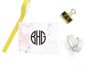 Pink Marble Stationary Monogram FOLDED Cards, Personalized Stationery Business, Marble Stationery Personalized, SET of 10 Cards & Envelopes