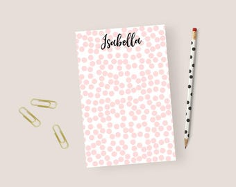 Dotted Notepad Personalized Stationery Notepad Dotted, Stationary Notepad, Polka Dots Notepad Personalized Kids Notepad, 5.5 x 8.5