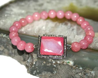 Pink Druzy Bracelet Sterling Silver Bracelet Pink Jade Bracelet Wedding Jewelry Bridesmaid Bracelet for Women Pink Jewelry Diamond Bracelet