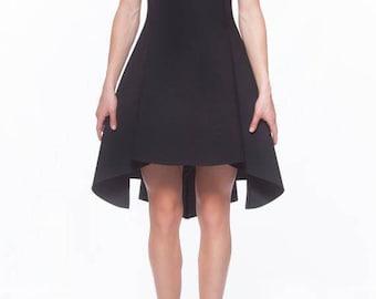 Goth Dress, High Low Dress, Black Neoprene Dress, Asymmetric Dress, High Collar Dress, Black Gothic Dress, A Line Dress, Tulip Dress