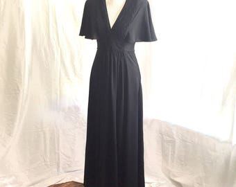 1970's black maxi dress by Jody T of California
