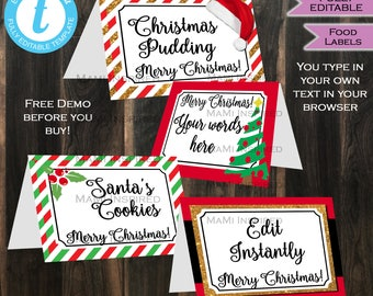Christmas Food Tents - Food Labels - Holiday Dining - Holiday Party Decorations - Baby Shower Decor - Custom Printable INSTANT Self EDITABLE