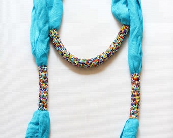 African scarf, Beaded scarf, Kenyan scarf, Fashion scarf, Women scarf, Beautiful scarf, Blue scarf, Bead scarf