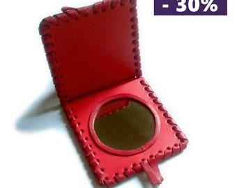 Raspberry pink leather pocket mirror