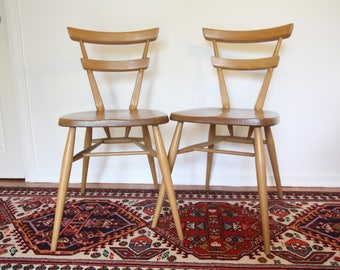 Vintage Pair 1960s Ercol Adult Sized, Two Bar, Stacking/Dining Chair in Elm and Beech. Excellent Condition.
