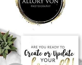 119 - Allory Von, LOGO Premade Logo Design, Branding, Blog Header, Blog Title, Business, Boutique, Custom, Black, Gold,