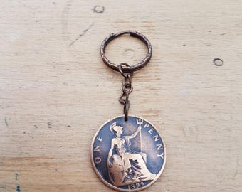 1899 Vintage/Antique British Old Penny coin keyring, a lovely gift! Queen Victoria, Victorian
