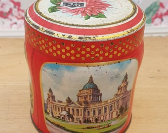 Vintage tin, Scribbans Kemp chocolate table fingers. Featuring historic landmarks in Belfast, Hereford & Edinburgh.