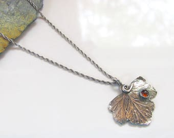 Leaf Pendant Necklace - Fine Silver Pendant with Amber Stone - Sterling Adjustable Chain - Autumn Jewelry - Ready to Ship - One of a Kind