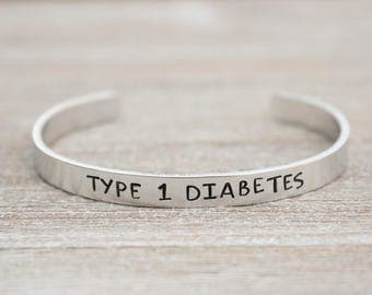TYPE 1 DIABETES - Medical ID Alert Bracelet - Stamped Metal Bangle - One Size Fits All