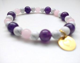 Howlite, Amethyst, Rose Quartz stretch bracelet