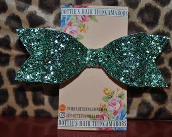 Mermaid Blue Glitter Hair Bow Clip
