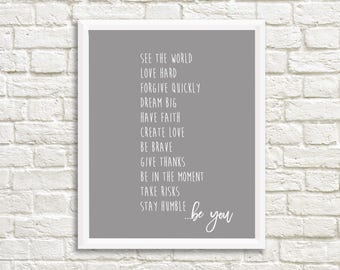 Life to Do List - Be Brave, Love hard, Take Risks, Be You - GREY - 11x14 - Home Decor Poster Sign - Inspirational Home Decor Art