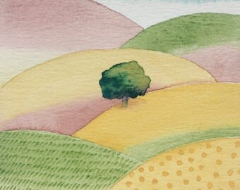 Lonely Tree / Tuscany Watercolour Print