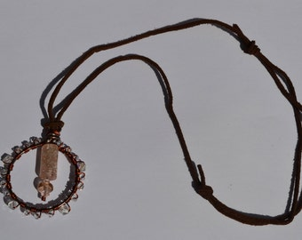 Necklace leather, copper and glass