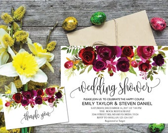 Wedding Shower Invitation, Fall Floral Bridal Shower Card, Couples Shower Invite, Editable Card Printable Instant Download Wedding Shower R1