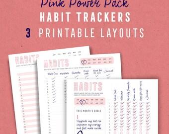 Pink Habit + Goal Tracker Printables, Habit Planners, Goal setting printables, Habits, Checklist, PDF, Digital Download, A4, US Letter, A5