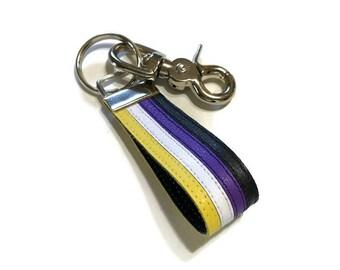 Nonbinary keychain, non binary pride, nonbinary leather keychain, nonbinary pride.