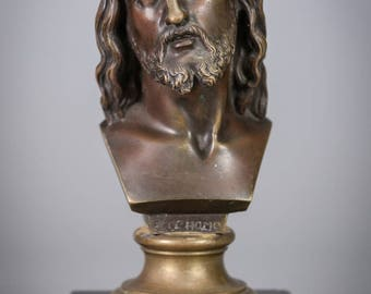 Antique Ecce Homo Bronze Bust Statue Man of Sorrows Jesus Christ Mable Base