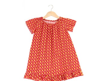 Girls dresses with Ruffles for girls - summer tender of Red tulips
