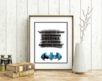 Our Greatest Glory. Batman. Movie Based Wall Decor. Wall Printable. 8x10in. Digital Download.