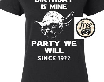 40th Birthday Gift For Woman 1977 Vintage T shirt ideal present for women celebrating a fortieth birthday, Yoda Star Wars Shirt Y7