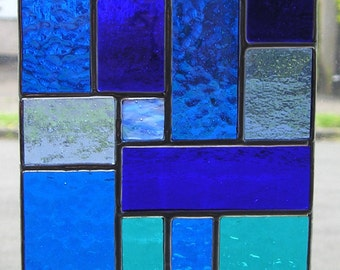 Abstract, Stained Glass Suncatcher, Shades of Blue, Handmade in England