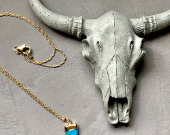 Collection KELII, turquoise Horn pendant, gold filled necklace