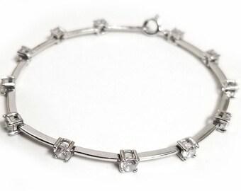 """Vintage Sterling Silver and CZ Link Bracelet 7.5"""""""