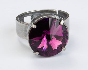 Plated with H.E. Amatista Crystal Adjustable ring.