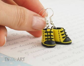 Cute Tiny Sneakers Earrings handmade polymer clay jewelry yellow black color miniature