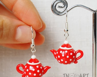 Cute Tiny Red Teapots Earrings / handmade polymer clay jewelry / red white color polkadot miniature teapot tea