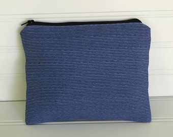 Blue Pinstripe Pouch | Handmade Zipper Pouch