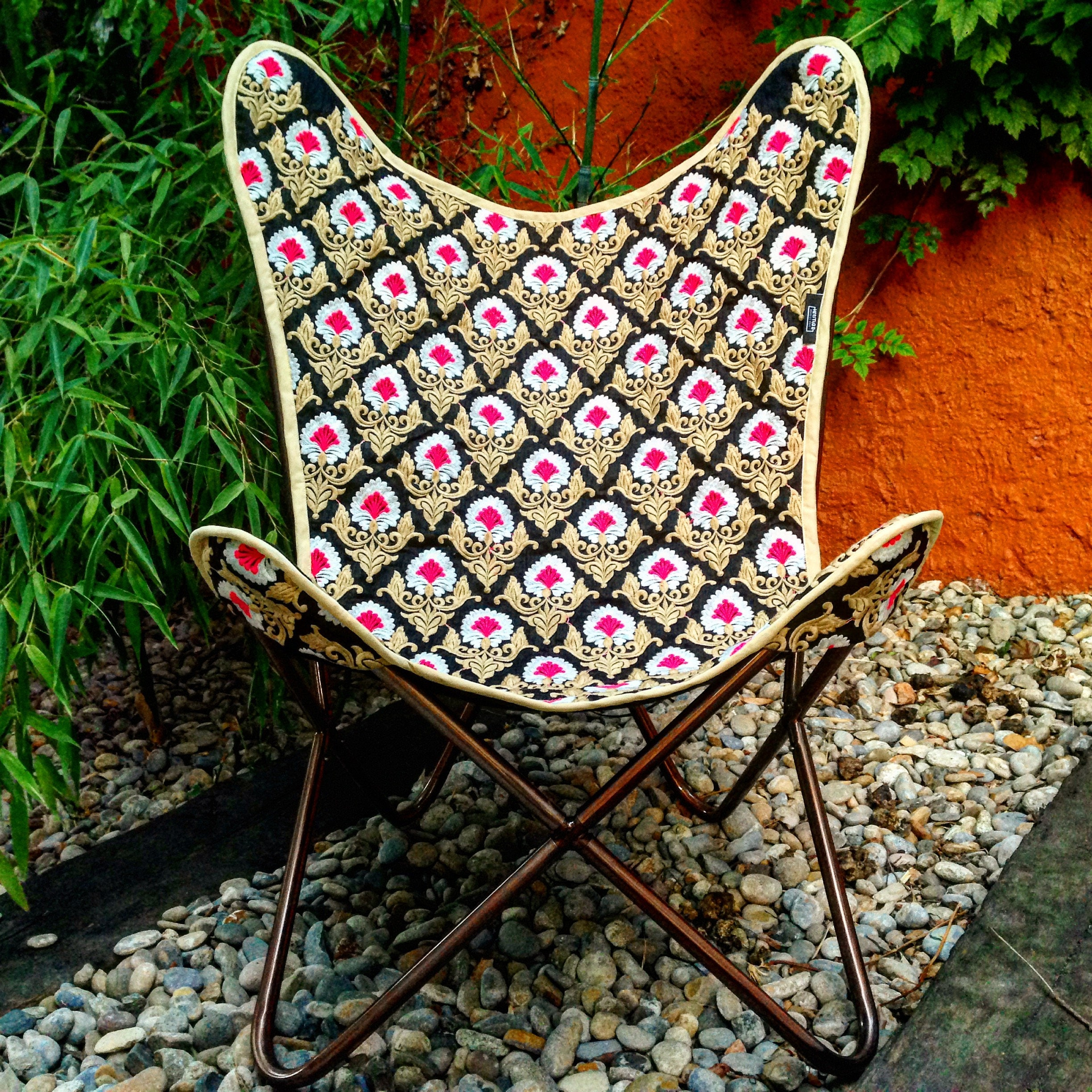 Boho chair Vintage style chair cover made with embroidered