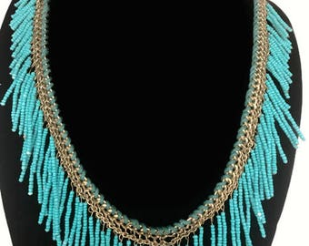 Vintage tribal inspired Boho style brass and bead bib necklace