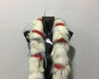 New Real Natural Light Mix Color Fox Fur Scarf