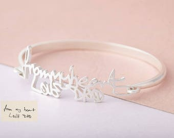 Handwriting Bangle - Signature Bangle - Personalized Handwriting Bangle - Memorial Bracelet - Gift for Her - Bridesmaid Gift